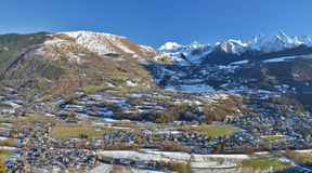 Panorama of Aure Valley in Hautes Pyrenees. In winter, with Saint-Lary-Soulan village at right, Vignec in left center, Sailhan and Azet villages are further Royalty Free Stock Images