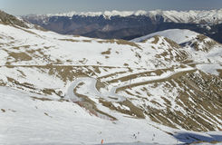 Panorama of Aure Valley in Hautes Pyrenees. In winter, seen from slopes of Saint-Lary-Soulan ski resort, mountain chains of Hautes Pyrenees region are at Royalty Free Stock Photos