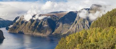 Panorama of the Aurlandsfjord from Stegastein Royalty Free Stock Photography