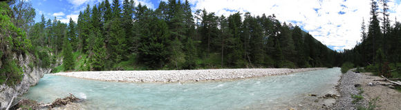 Panorama Austria. Isar (River) at the beginning Royalty Free Stock Images