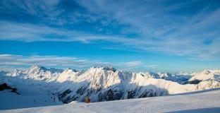 Panorama Austriacki ośrodek narciarski Ischgl Obrazy Royalty Free