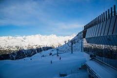 Panorama Austriacki ośrodek narciarski Ischgl Zdjęcie Stock
