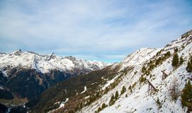 Panorama Austriacki ośrodek narciarski Ischgl Obrazy Stock