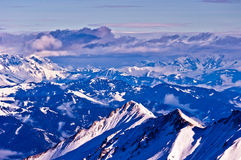 Panorama of the Austrian Alps at sunny winter morning Royalty Free Stock Photography
