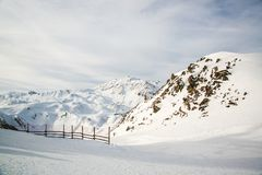 Panorama of the Austrian ski resort Ischgl. Alpine mountains in the ski resort of Ischgl, Europe.Panorama of the Austrian ski resort Ischgl Royalty Free Stock Image