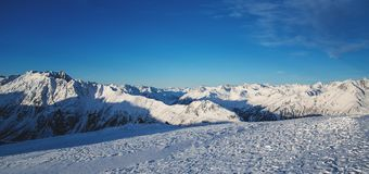 Panorama of the Austrian ski resort Ischgl. Panorama of the ski resort Ischgl, Austria, Europe. Alps in the winter Stock Images