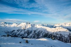 Panorama of the Austrian ski resort Ischgl. Europe. Winter season Royalty Free Stock Photos