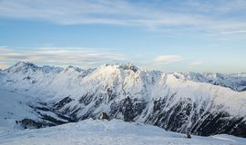 Panorama of the Austrian ski resort Ischgl. In the morning. Europe Royalty Free Stock Images
