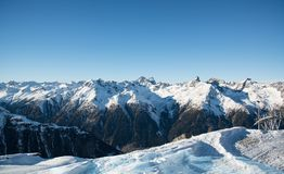 Panorama of the Austrian ski resort Ischgl. In winter, Europe Royalty Free Stock Photo