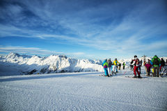 Panorama of the Austrian ski resort Ischgl with skiers. Stock Photography
