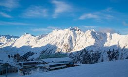 Panorama of the Austrian ski resort Ischgl with skiers. Panorama of the Austrian ski resort Ischgl with skiers Royalty Free Stock Images