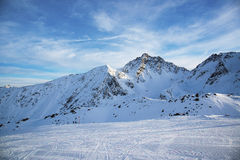 Panorama of the Austrian ski resort of Ischgl. Stock Photos
