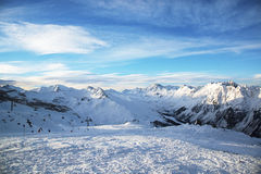 Panorama of the Austrian ski resort of Ischgl. Royalty Free Stock Photos