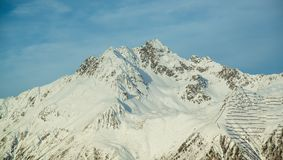 Panorama of the Austrian ski resort Ischgl. In the winter, the Alps. Europe Royalty Free Stock Image