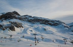 Panorama of the Austrian ski resort Ischgl. In the winter, the Alps. Europe Stock Photos