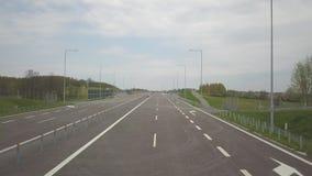Panorama autostrada z ptaka oka widokiem Przewieziona arteria kraj Ruch pojazdy na autostradzie Landsca zbiory wideo
