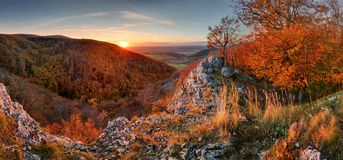 Panorama of autumn forest and rock in Slovakia mountain stock images