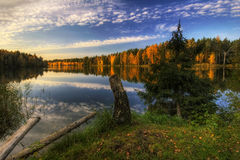 Panorama of Autumn lake Royalty Free Stock Image