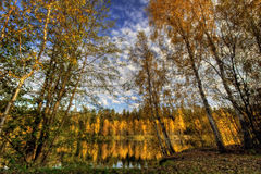 Panorama of Autumn lake Stock Photo