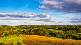 Panorama of an autumn landscape in Germany stock image