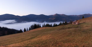 Panorama of autumn mountain hills Royalty Free Stock Image