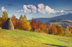 Panorama of the autumn mountains. Royalty Free Stock Photos