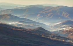 Panorama of the autumn mountains Stock Image