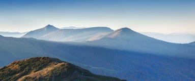 Panorama of the autumn mountains Stock Photos