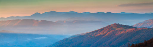 Panorama of autumn mountains Royalty Free Stock Photography