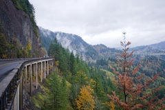 Panorama with autumn nature Columbia Gorge with truck overpass b Royalty Free Stock Photo