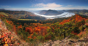 Panorama at autumn from peak Klapy Royalty Free Stock Image