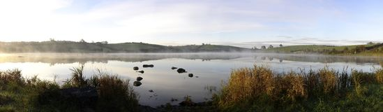 Panorama autumn sunrise on an Irish lake. Sunrise on Kernan Lake, Co. Down, Ireland on an autumn morning Royalty Free Stock Photography