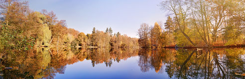 Panorama of autumn trees. At a glassy lake stock photo