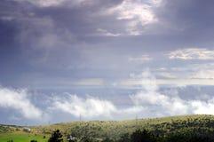 Panorama av öar Krk och Prvic Arkivbild