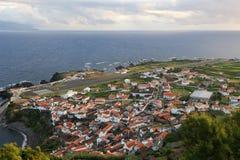 Panorama av ön av Corvo Azores Arkivbild