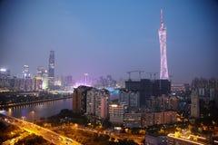Panorama av aftonen Guangzhou Royaltyfri Fotografi