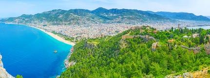 Panorama av Alanya Arkivbilder