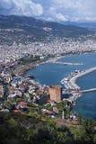 Panorama av Alanya, Turkiet Arkivfoton