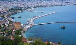 Panorama av Alanya, Turkiet Royaltyfri Fotografi