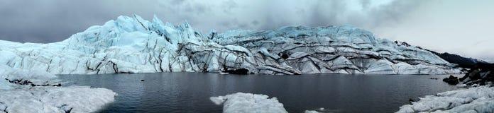 Panorama av Alaska den Matanuska glaciären Arkivfoton