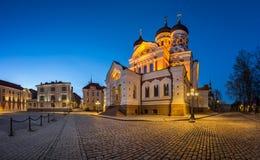 Panorama av Alexander Nevsky Cathedral i aftonen, Tallinn Royaltyfri Bild
