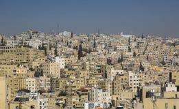 Panorama av Amman, huvudstad för Jordanien` s arkivfoto