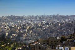 Panorama av Amman, huvudstad för Jordanien` s arkivbilder