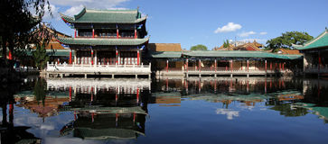 Panorama av Anicent kinesbyggnader arkivfoto