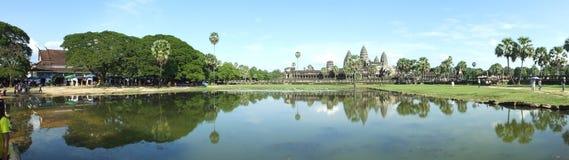Panorama av Ankor Wat, Siem Reap, Cambodja Arkivbilder