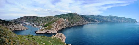Panorama av Balaklava och udde Fiolent Royaltyfria Bilder