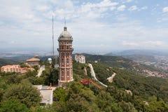 Panorama av Barcelona från monteringen Tibidabo Fotografering för Bildbyråer