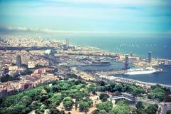 Panorama av Barcelona port Arkivbilder