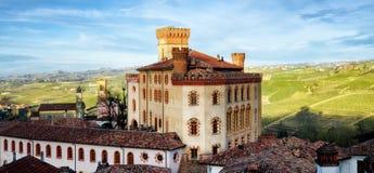 Panorama av Barolo piedmont, Italien royaltyfri foto