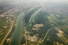 Panorama av Belgrade med en sikt från nivån Arkivbild